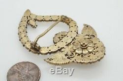 Antique Chinois Peranakan Vermeil Jargoon Kerongsang Serong Coeur Ibu Broche