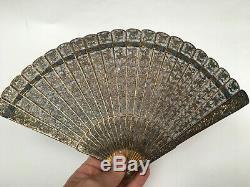 Antique Chinois Pour L'exportation Dore Argent Filigree Brise Fan
