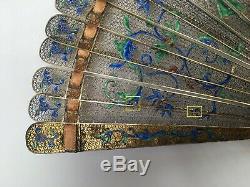 Antique Chinois Pour L'exportation Dore Argent Filigree Et Émaillés Brise Fan. Rare