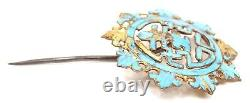 Antique Chinois Qing Kingfisher Feather Bijoux Cheveux Pin Or Gilt Argent Brooch