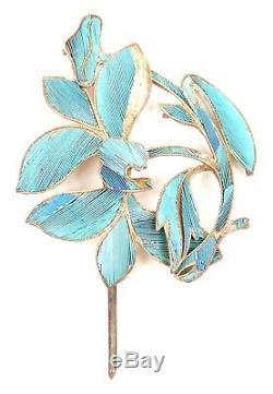 Antique Chinois Qing Kingfisher Plume Bijoux En Épingle À Cheveux En Or Doré Broche