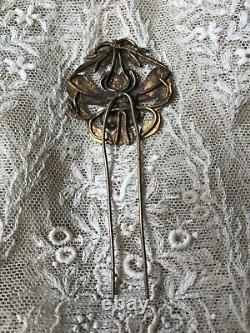 Antique Chinois Qing Or Laver Argent Kingfisher Ornement Cheveux En Épingle À Cheveux