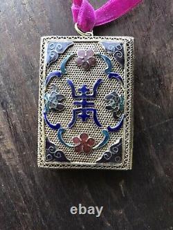 Antique Chinois Qing Vinaigrette Pendentif Pendentif Gilt Argent Émail