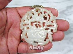 Antique Chinois Sculpté Blanc Hetian Pendentif De Jade D'or Wash Collier En Argent