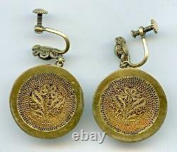 Antique Chinois Sculpté Jadeite Jadeite Doré Boucles D'oreilles En Argent Locket 1900