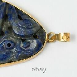 Antique Chinois Sculpté Lapis Lazuli Collier Pendentif Or Lavé Argent 1-5/8