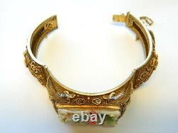 Antique Chinois Silver Gilt Filigree Sculpté Dragon Cuff Bracelet 7 Po
