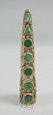 Antique Chinois Silver&gilt Vermiel Finger Nail Guard Brooch Jade Inset Discs