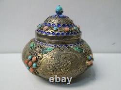 Antique Chinois Turquoise & Corail Émaillé Gilt Sterling Silver Tea Caddy Bowl