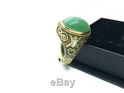 Antique Chinois Vermeil Or Sur Argent Grande Taille Jade Anneau P (réglable)