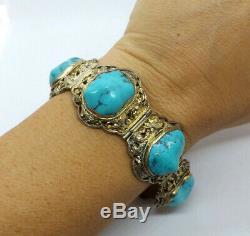 Antique Chinois Vermeil Ornement Turquoise Panneau Nugget Bracelet, 50.2g