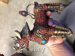 Antique Circa 1920 Or Tibétain Chinois Lavé Argent Articulé Dragon Fu Dog