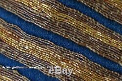 Antique Cour Impériale Des Qing Chinois D'or Et D'argent En Soie Brodée Dragon Robe