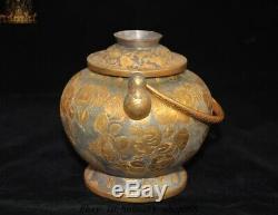 Antique Dynastie Chinoise Pur Argent Doré 24k Oiseau Fleur D'or Teapot Bouilloire Pot