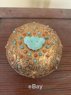 Antique Et Argent Chinois Or Filigrane Boîte À Bijoux Avec Jade Et Pierres Précieuses Wow