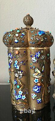 Antique Export Chinese Tea Caddy Sterling Silver Gilt Filigree Finest Émail