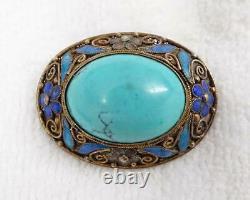 Antique Exportation Chinoise Gilt Filigree Émail & Broche De Cabochon Turquoise Bombée