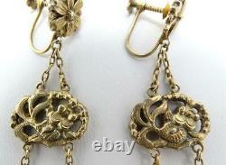 Antique Exportation Chinoise Gilt Silver Koi Fish Carnelian Drop Dangle 3 Boucles D'oreilles