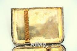 Antique Exportations Chinoises Tien Shing Argent Massif N Plaqué Or Cigarette 19c Cas