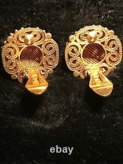 Antique Exquisite Workmanship Chinois Gilt Silver Filigree Malachite Boucles D'oreilles