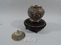 Antique Ginger Jar Antique Vase Couvert Urne Argent Chinois Gilt & Émail