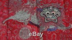 Antique Gold & Argent Chinois Fil Foo-lion Autel Broderie De Soie Bannière # 2