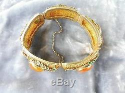 Antique Gold Chinois Argent Doré Bracelet Cornaline Poinçonnés