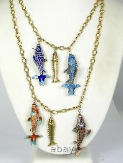 Antique Gold Filled & Silver Chinese Cloisonne Articulated Fish Necklace 75g B17