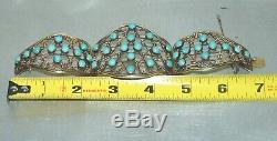 Antique Grand Chinois D'exportation D'or En Argent Sterling Doré Bracelet Turquoise