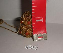 Antique Lavage D'or D'argent Chinois Ambre Couleur Cabochons Collier Pendentif