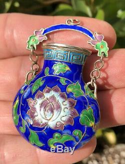 Antique Old Chinese Multi Color Cloisonné Argent Lotus Gilt Urne Pendentif