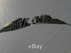 Antique Or Argent 19ème Exportation Chinois Vieux Collier Ruby Dragons 32 Gr (m158)