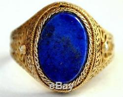Antique Or Argent Doré Et Lapis Lazuli Chinois Filigrane Taille 7 Anneau
