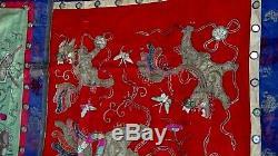 Antique Or Argent Et Chinois Fil Foo-lion Autel Broderie De Soie Bannière # 1