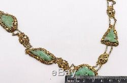 Antique Or Chinois Argent Vermeil Et Filigrané Collier De Jade Sculpté