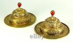 Antique Paire De Gilded Argent Tibétain / Temple Chinois Chimes Corail Rouge Finials