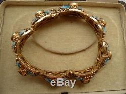 Antique Papillon Bracelet 1930 Art Déco Chinois D'exportation D'or Vermeil Émail