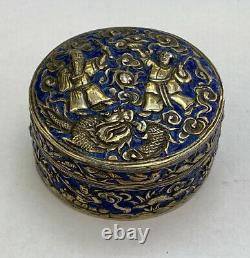 Antique Rare Chinois Argent Doré Émail Bleu Boîte