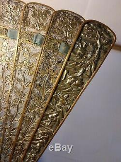 Antique Rare Début Du 19ème Siècle Chinois Argent Doré Filigree Brise Fan Oriental