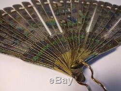 Antique Rare Début Du 19ème Siècle Chinois Dore Argent Filigree Émail Brise Fan