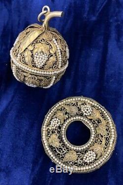 Antique Silver Gilt Filigrane Chinois Pomander Avec Perles Pendentif Set Broche