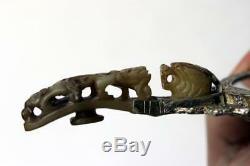 Antique Silver Mirror Chinese Gilt W. Jade Dragon & Plaque Poignee Hook