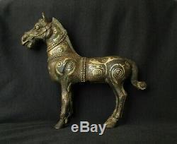 Antique Silver-de Statue En Bronze Doré Incrusté Chinois, Sculpture Cheval Archaic