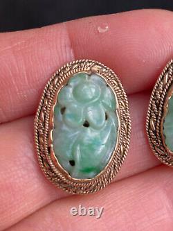 Antique Testé Argent Gilt Chinois Authentique Jade Sculpté Stud Boucle D'oreille