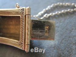 Antique Turquoise Bracelet Filigrane Gilt En Argent Sterling Vintage Chinese Export