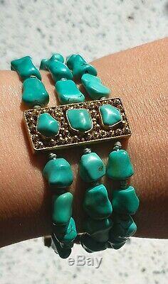 Antique Turquoise Pierre Chinois Or Argent Doré Bracelet Main Strung