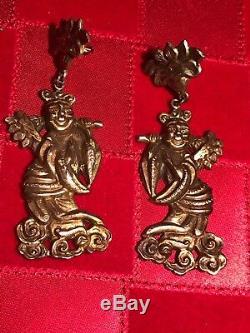 Antique Unique Chinese Export Oreilles 1800 Figurale Déité Vermeil