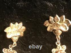 Antique Unique Chinoise Exportation Eerings 1800's Figural Deity Gilt Silver