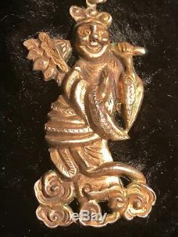 Antique Unique Exportation Chinoise Boucles D'oreilles 1800 De Figural Deity Dilu Argent