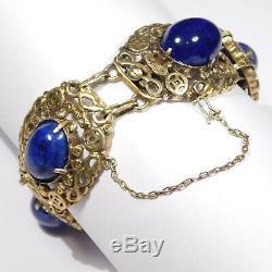 Antique Vermeil Lapis Chinois Ornement Bracelet